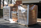 Three skids of aluminum roofing. This is enough for about 2,800 square feet of roofing.