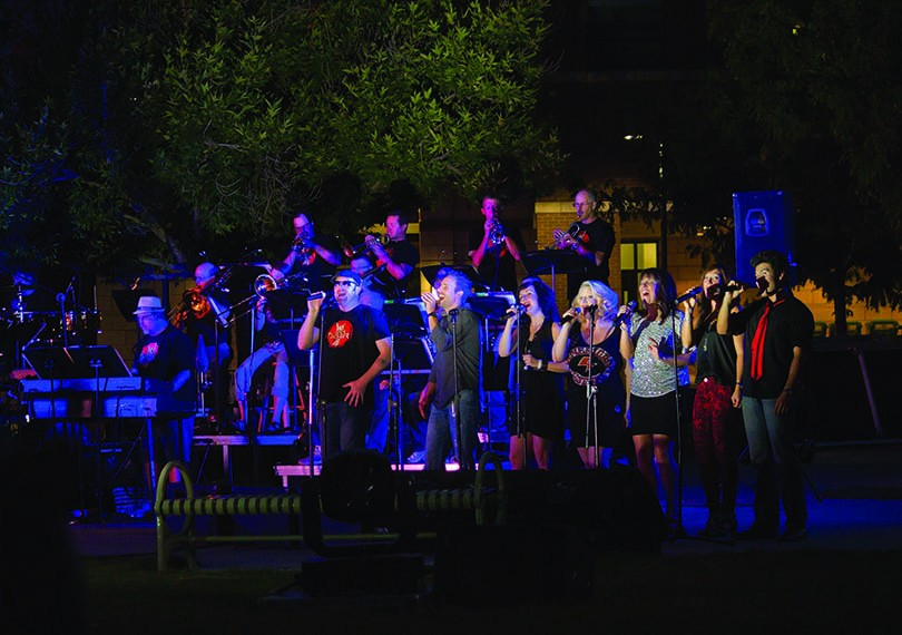 The Rockestra singers perform at a free concert on the Green at Colorado Mesa University.