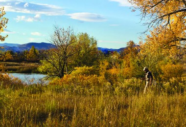 An angler heads to a Colorado foothills farm pond to fish for October carp.