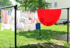 Your solar-powered dryer: a clothesline! Photo Credit: Freeimages/Julia Eisenberg