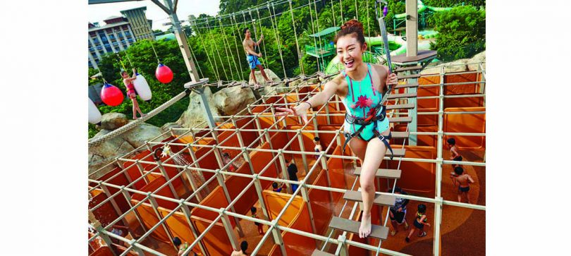 The Wet Maze located in Singapore features an elevated ropes course.