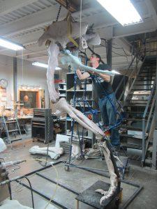 "Jacob Jett works on ""Pete,"" a Daspletosaurus."