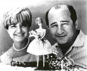 Ruth and Elliot Handler, both raised in Colorado, pose with an early version of Barbie. Photo courtesy of Mattel