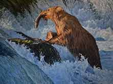 artist's painting of bear catching a fish in the river