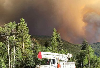 electric co-op crew assesses Cameron Peak Fire