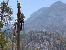 lineman assessing power pole up high