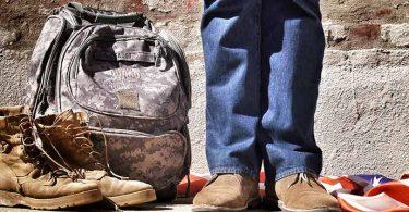 veteran and belongings with American flag