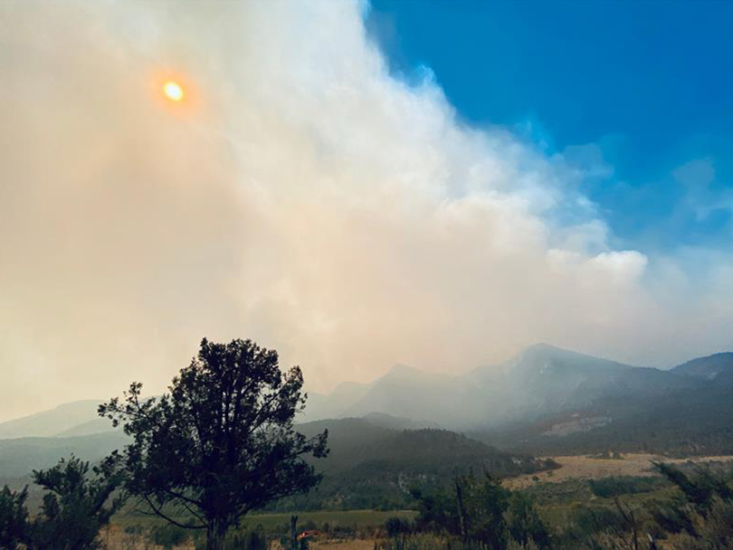smoke-filled sky from wildfire