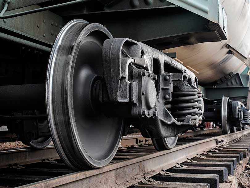 closeup of train wheels