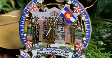 closeup of the Governor's Residence Women's Right to Vote ornament