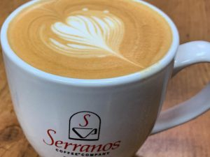 Close up of a cup of Serranos coffee