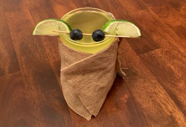 Baby Yoda mocktail wrapped in a cute burlap robe